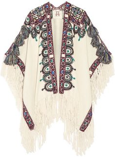 Figue - Havelli Fringed Embroidered Alpaca Poncho - Ecru