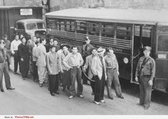 Mexican Americans arrested after Zoot Suit Riots, 1943