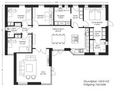 153 m² Vinkelhus - Bygget af Bernt Nielsen Huse A/S Floor Plants, Good House, Ideal Home, House Plans, Flooring, How To Plan, Architecture, House Styles, Inspiration