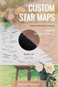 The most unique and stunning wedding guestbook alternative you'll find anywhere. Capture the night sky of your upcoming wedding date with the most realistic FULL-COLOR CUSTOM STAR MAPS you'll find anywhere, and plenty of blank space around the outside for approximately 100 guests to sign with a sharpie.