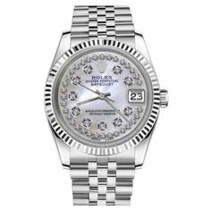 Pre-owned Rolex Datejust White Mother Of Pearl String Diamond Dial... ($4,999) ❤ liked on Polyvore featuring jewelry, watches, mother of pearl watches, white wrist watch, rolex wrist watch, diamond wrist watch and preowned jewelry