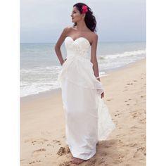 Sheath/ Column Strpaless Floor-length Chiffon Wedding Dress – US$ 178.19