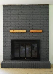 grey painted brick fireplace...like that it still looks like brick ...