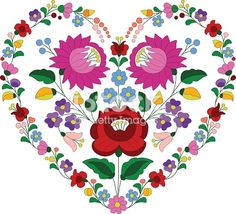 Vintage Embroidery Designs Heart made with traditional Hungarian embroidery pattern from Kalocsa region. - Heart made with traditional Hungarian embroidery pattern from Kalocsa region. Hungarian Embroidery, Folk Embroidery, Learn Embroidery, Vintage Embroidery, Embroidery Sampler, Chain Stitch Embroidery, Embroidery Hearts, Embroidery Stitches, Flower Embroidery