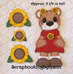 Sunflower Girl Tear Bear Paper Piecing by scrapfanatic - Cards and Paper Crafts at Splitcoaststampers