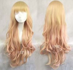 75cm harajuku synthetic curly hair pink mixed yellow colors gradient anime cosplay costume party wigs for women cosplay wigs $19.99