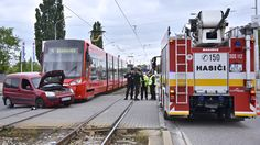 An expensive mistake: a van crossed over the tram tracks on Vajnorská street in Bratislava yesterday, colliding with a new Škoda tram. Photo: TASR