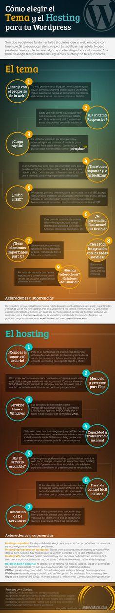 Cómo elegir el tema y el hosting para tu WordPress Por: @Arturo Garcia #infografia #infographic #socialmedia