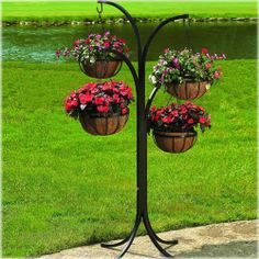 Plant Stand CobraCo 4-Arm Tree with 4 Hanging Baskets Rack PatioOutdoor  Décor