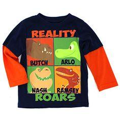 The Good Dinosaur Boys Long Sleeve Tee (Navy/Orange Reality Roars) Disney Pixar #yankeetoybox #gooddino Arlo Butch Nash Ramsey