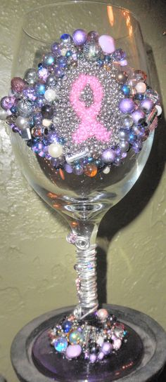 Wine glass with beaded pink breast cancer awareness ribbon