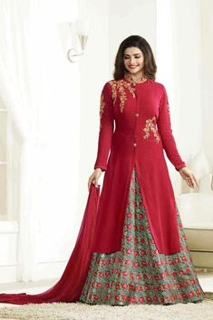 aeca97667e98 #red |#embroiderydesigns #georgettesuits | embroidered dress colorful chiffon  dress | red nazneen