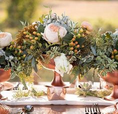 Copper wedding colors - metallic theme.