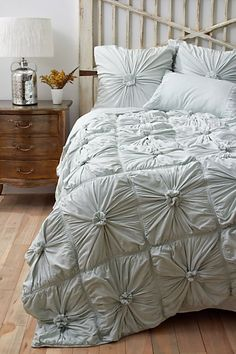 Gorgeous pale blue gathered bedding