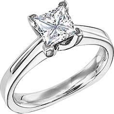 Diana Solitaire Princess Cut Engagement Ring  : Sleek and simple, this solitaire engagement ring setting by Diana will perfectly show off your choice of a center diamond.