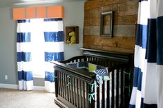 great nursery - love the curtains, they are painted-on stripes