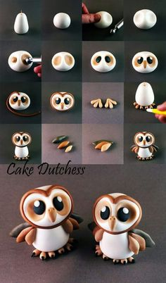 Cute owl cake topper or cupcake topper. Could be done in fondant, gum paste, or modeling chocolate! Great baby owl tutorial by cake dutchess how to make an owl tutorial! Cake Decorating Tutorials about my modelling work, all things are made with Cake Dutc Bolo Fondant, Fondant Cake Toppers, Fondant Cakes, Owl Cake Toppers, Cake Icing, Cupcake Fondant, Cake Decorating Tutorials, Cookie Decorating, Cake Decorating Supplies
