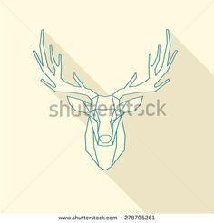 polygonal illustration of deer, wire frame - stock vector