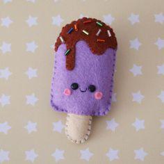 Grape Popsicle Felt Brooch by hannahdoodle on Etsy, $12.00