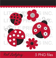 Red Ladybug Flower Clip Art for Personal Use Make your own stickers, toppers, party favors