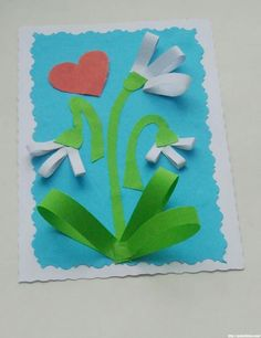 Mother`s Day Craft Ideas for Kids. Easy Handmade CARDS for Preschoolers / Arts and Crafts Activities for Kids. Children's Arts and Crafts Activities. Drawing and Poems Spring Projects, Spring Crafts, Preschool Art, Craft Activities For Kids, Craft Ideas, School Art Projects, Projects For Kids, Winter Crafts For Kids, Art For Kids