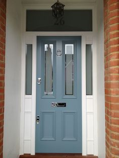 Blue Victorian front door with sandblasted glass in London - October 11 2019 at Best Front Doors, Beautiful Front Doors, Modern Front Door, Front Door Design, Front Door Colors, Front Door Porch, House Front Door, Glass Front Door, Front Door Images