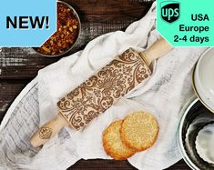 Damask  MINI laser engraved rolling pin by RollingWoods on Etsy