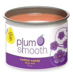 Plum Smooth Strip Wax - Cotton Candy. Beeswax, rosin, and titanium dioxide are swirled together with mica to create a silky, aromatic strip wax that's perfect for all hair types. Pink color. 16 oz.  #WAX #WAXING #PLUMSMOOTH #COTTONCANDY #COTTONCANDYWAX