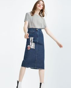 """Image 3 of """"I AM DENIM"""" COLLECTION TUBE SKIRT WITH PATCHES from Zara"""