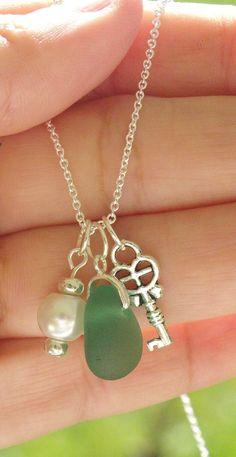 Sea Glass Jewelry Sea Glass Charm Necklace by SalishSeaDesigns