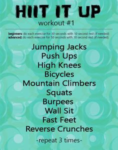 HIIT IT UP Workout #1 Burpees, Squats, Reverse Crunches, High Knees, Jumping Jacks, Hiit, Fitspiration, Push Up, Exercise