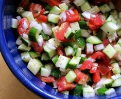 When the cucumbers and tomatoes are available at the Farmers' Market, I do go a little crazy. Can you blame me? We eat one of three cucumber and/or tomato salads just about every day. We love this Mediterranean Cucumber Salad   TraditionalCookingSchool.com