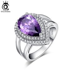 ORSA JEWELS Big Water Drop 6 ct Zircon Ring 3 Prong Setting with Micro Paved CZ Stone Around Trendy Party Ring for Women OR36