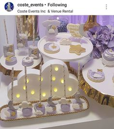 Twinkle Twinkle little star Dessert table and Decor Cloud Baby Shower Theme, Baby Shower Candy Table, Baby Shower Desserts, Girl Baby Shower Decorations, Baby Shower Centerpieces, Baby Shower Parties, 2nd Birthday Party For Girl, Baby Party, Baby Reveal Cupcakes