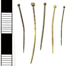 Tower Hamlets, GREATER LONDON, England: Five Medieval copper alloy pins (14th – 15th century)