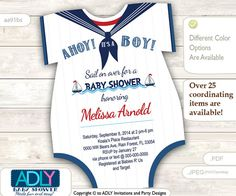Nautical Onesies Baby Shower Invitation for a Baby Boy in Navy Blue, Red, White colors. Little Sailor shower invitation,sail on over-aa91bs