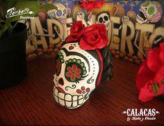 Frida Kahlo Skull Unique Frida kahlo art - Calaca Frida Day of the Dead - Dia de los muertos Original Sculpture Design Calavera by Ganbatte