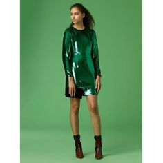 DVF Long-sleeve Tailored Sequin Mini Dress (62.890 RUB) via Polyvore featuring dresses, sequined dress, short dresses, green sequin dress, long sleeve mini dress и sequin mini dress