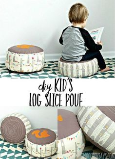 This log slice pillow is the perfect diy pouf for kids. Stitch on the details for cute handmade nursery decor or stick it in the playroom! Such a cute free sewing pattern for kids. #pouf #diy #sewing #freesewingpattern