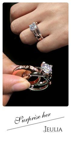 Jeulia Two Tone Interchangeable Round Cut Created White Sapphire Wedding Set #Jeulia