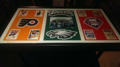 """30"""" x 20"""" Philadelphia Sports Themed Coffee Table with clear gloss epoxy finish."""