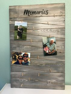 Excited to share the latest addition to my shop: GRATEFUL PHOTO BOARD/picture holder/rustic picture display board/photo board/rustic picture board/Wedding gift/Christmas card holder/ Pallet Pictures, Rustic Pictures, Cadre Photo Diy, Diy Photo, Photo Ideas, Wooden Picture, Photo On Wood, Pallet Picture Display, Photo Display Board