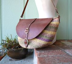 ◄Vintage Purse Tote Handbag Hobo Boho Hippie Native Twine Tweed Leather Colorful African Festival kid Gypsy Handbag Shouder Bag Kenyan Bag►  The