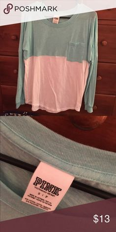 PINK tee Never worn! Loose fitting tee😊 so cute PINK Victoria's Secret Tops Tees - Long Sleeve
