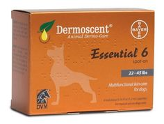 Bayer Dermoscent Essential 6 Spot-On Skin Care for Medium Dogs 22-45 lbs, 4 Tubes
