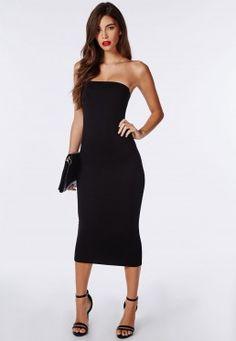 Strapless Jersey Body-con Midi Dress Black. DANGER! Curves ahead!