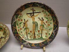 Slipware dish showing a crucifixion. Frechen 19th century. Collection: Keramion Frechen, DE