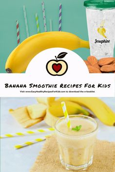 Click through to the banana #SmoothieRecipe for kids and download an e-booklet with 15 smoothie receips. The smoothie makes a #healthysnack, a delicious #bananadessert, enjoyed for #breakfast it provides a healthy start for a school day. #FoodToGrow Healthy Meals For Kids, Easy Healthy Recipes, Kids Meals, Healthy Snacks, Smoothie Recipes For Kids, Banana Dessert, Booklet, Almond, Treats