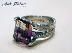 white gold and ametrine (amethyst and citrine combination) design Filigree Ring, Vintage Rings, Amethyst, Rings For Men, White Gold, Design Inspiration, Jewelry, Men Rings, Jewlery