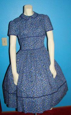 Vintage 50s Blue Flowered Day Dress S 34 Bust Rockabilly
